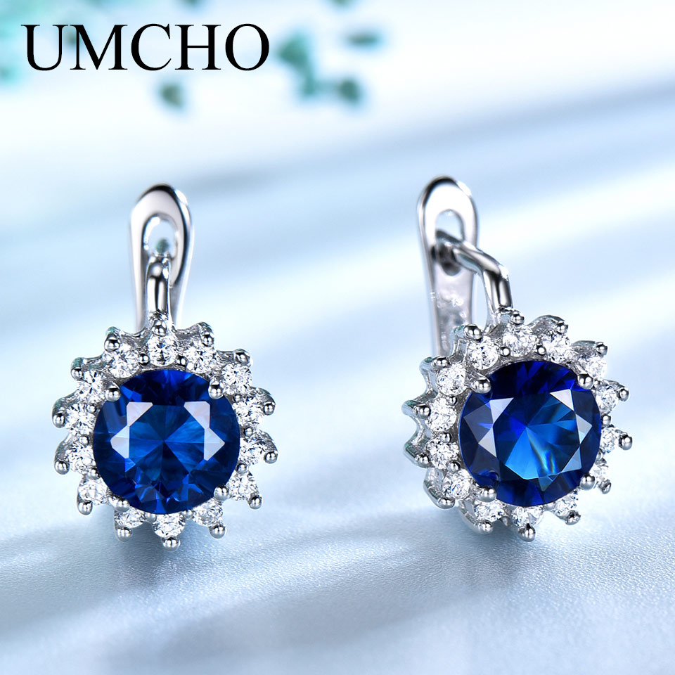 UMCHO Simulated Vintage  Blue Sapphire Clip Earrings For Women Solid 925 Sterling Silver Jewelry Accessories Women Party Gift