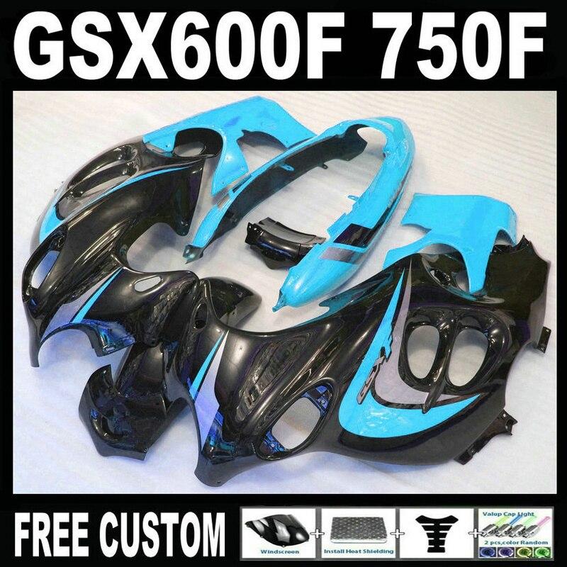 Top selling molding fairing kit for Suzuki GSX 600F 750F 95 96 97-05 blue black fairings set GSX600F 1995 1996-2005 LM26 7 free gifts plastic fairings set for hayabusa suzuki gsxr1300 1996 2007 blue black white fairing kit gsx1300r 96 07 fb54