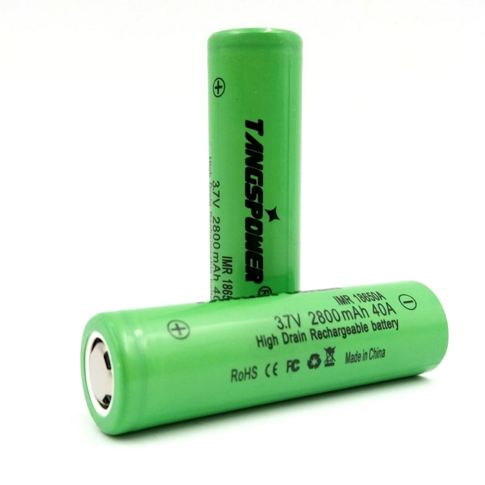 2pcs Tangspower IMR 18650 2800mAh 3 7V flat top battery 40A Rechargeable Battery in Portable Lighting Accessories from Lights Lighting
