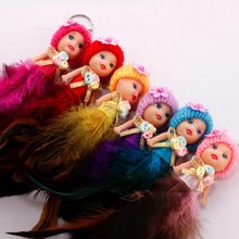 Beautiful Doll Keychain Pompom Feather Key Chain Fluffy Car Keyring porte clef Bag Key Ring llaveros chaveiro(China)