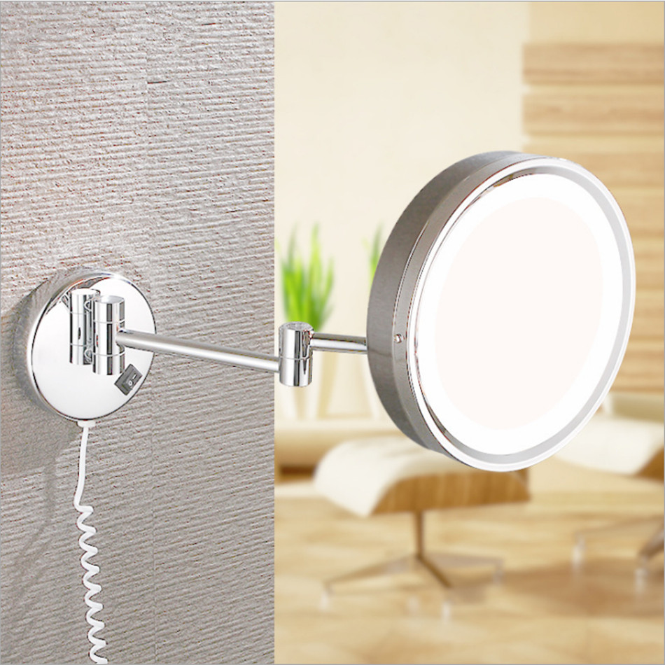 LED 8 Inch Folding Double Side Makeup Mirror Retractable Wall Mounted Round Magnifying Bathroom Copper Stainless Steel
