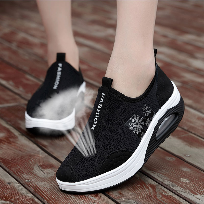 300021abd17 [HOT DEAL] US $29.99 for MWY Women Summer Height Increasing Casual Shoes  Fashion Breathable Mesh Swing Wedges Platform Shoes Stability tenis feminino