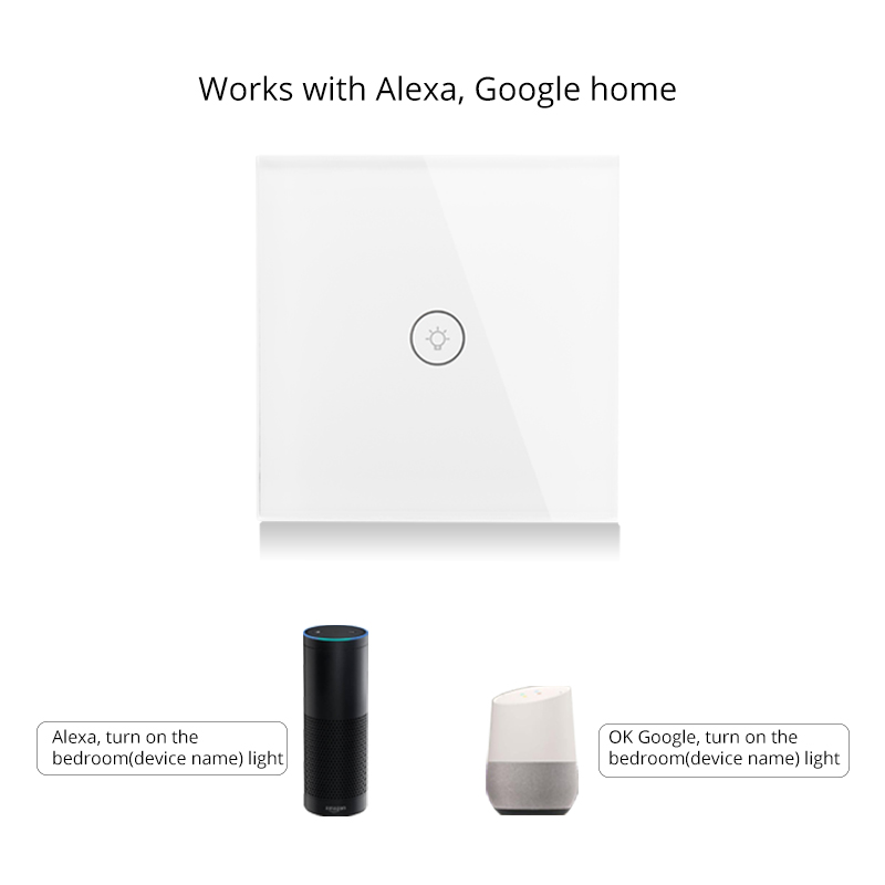 Wifi Smart Wall Touch Switch Glass Panel EU Standard APP Remote Control Works with Amazon Alexa Google Home for Smart Home