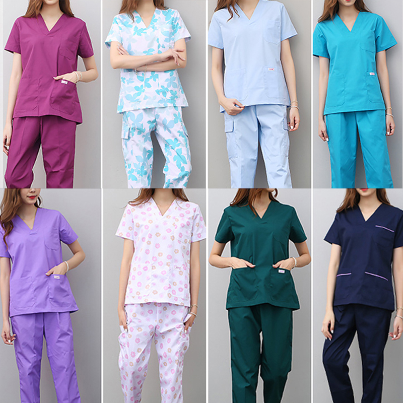 Medical Sets Hospital Doctors Nurses Short-sleeved Uniform Suits Dental Oral Clinic Beauty Salon Workwear Overalls Clothes