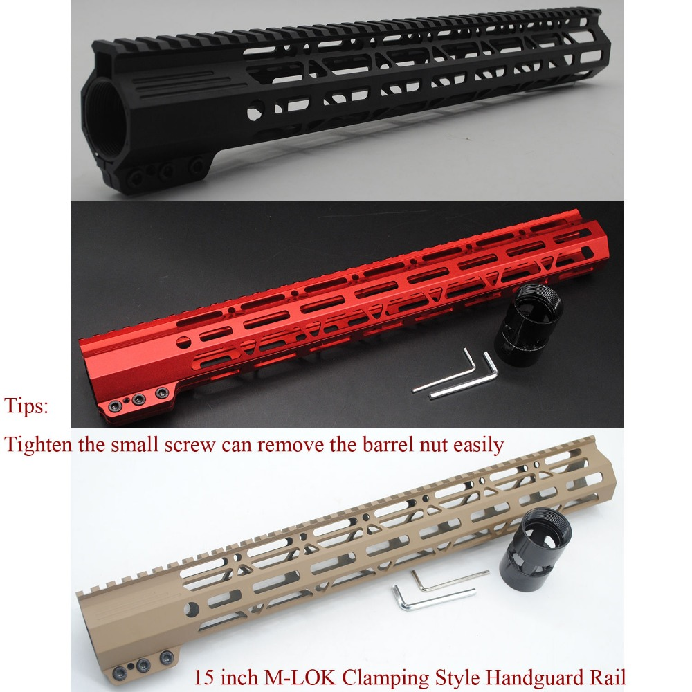 Black/Red/Tan Color 15'' inch M-lok Length Clamping Style Handguard Rail Free Float Mount System Free Shipping микрофонная стойка quik lok a344 bk