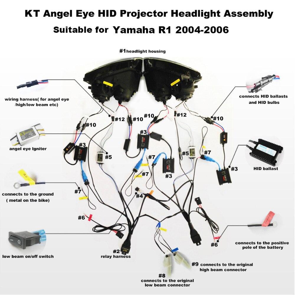 Tacho Connecting Wiring Diagram For Yamaha R1 04 06 Electrical Kt Headlight Yzf 2004 2006 Led Angel Halo Eye
