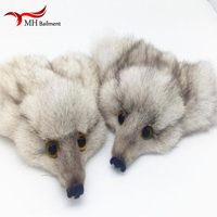 New High quality Real Fox Fur Head Fur Pompom Ball Pom for Car Keychain Keyring Women bag Pendant DIY wholesale