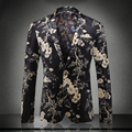 New arrival europe and america style fashion yellow floral print black velvet blazer men costume homme men's clothing / XF40-1