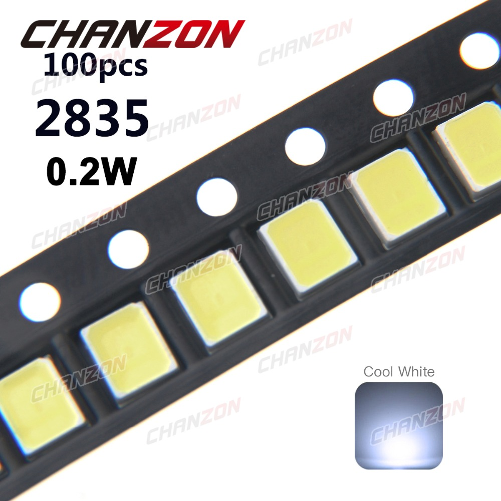 100pcs <font><b>SMD</b></font> <font><b>2835</b></font> Chip Cool White 0.2W 3V 60mA 21-23LM SMT Surface Mount Lamp 10000K <font><b>LED</b></font> Light Emitting Diode Lamp for PCB image