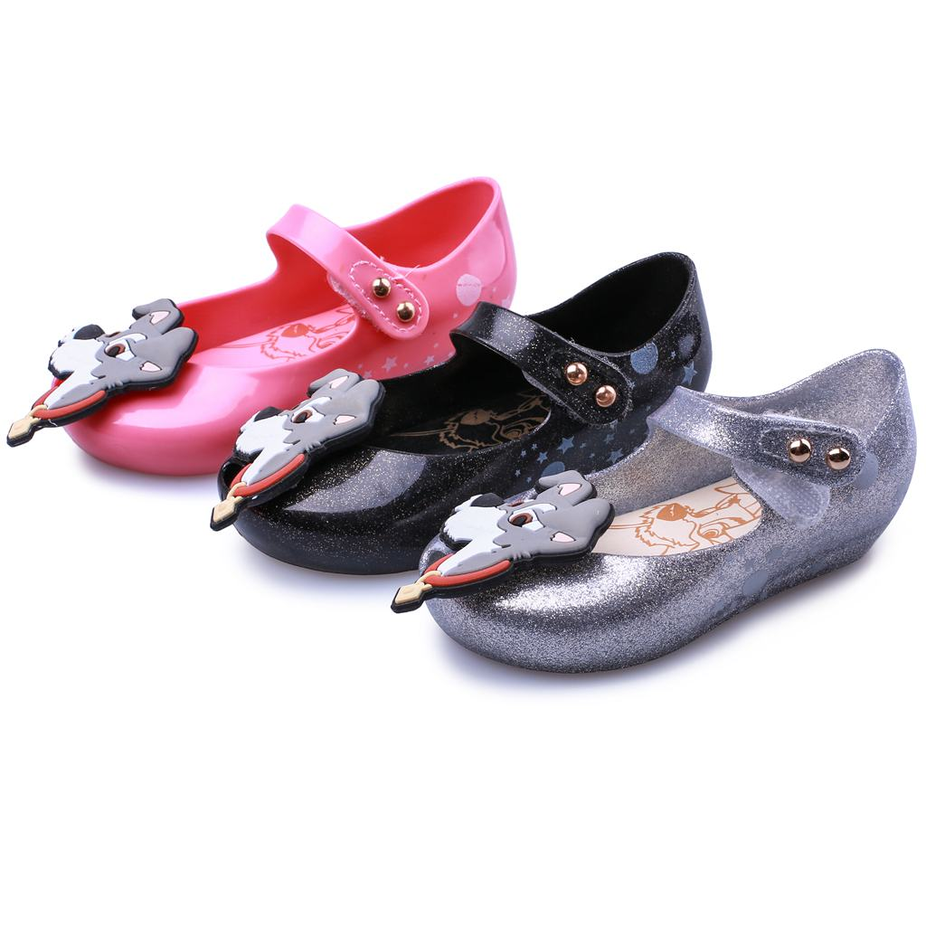 Melissa 2018 New Summer Mini Twins Dog Print Star Moon Lady Tramp Beach Shoes Jelly Shoe Fish Mouth Girl Non-slip Kids Sandal