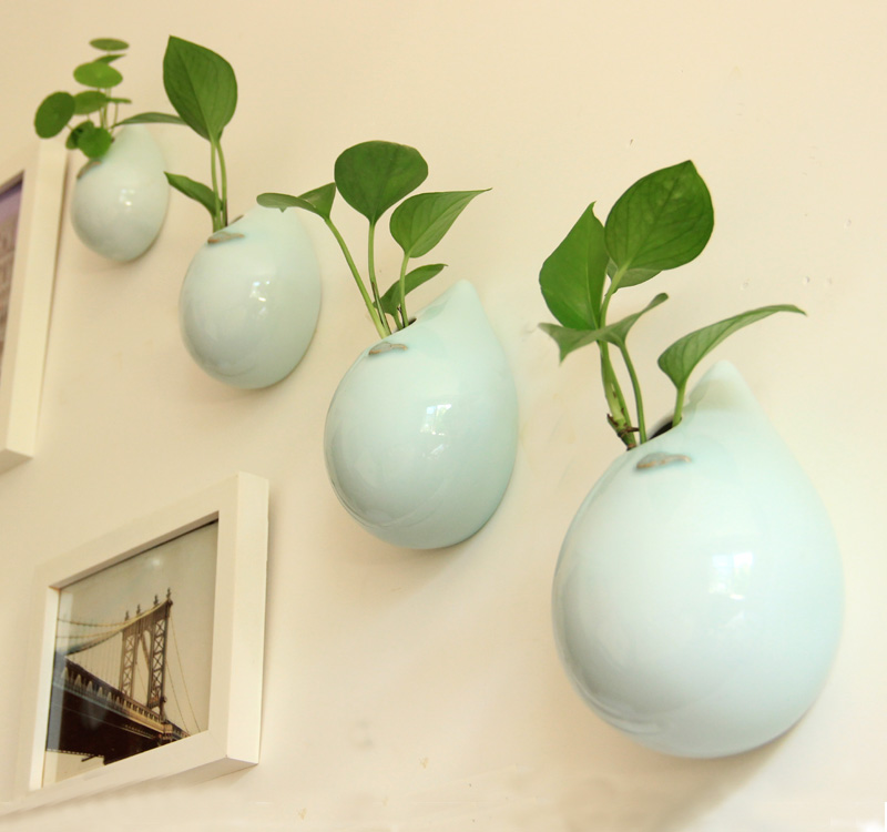 2015 Ceramic Wall Drop Vase Background Wall Decoration Flower Home
