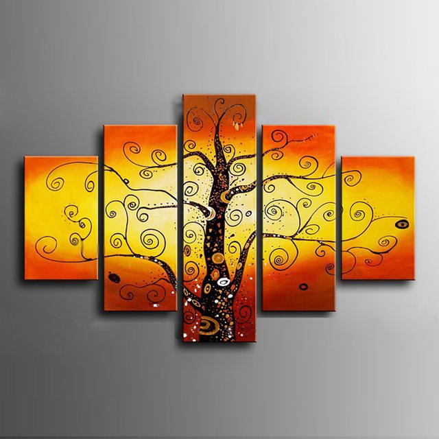 5 Panel Sets Hand Painted Colorful Tree Oil Painting on Canvas ...