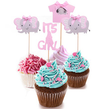 Elephant Cake Shower-Decor-Supplies Gender Birthday-Party Girl Toppers Baby 1set Cute