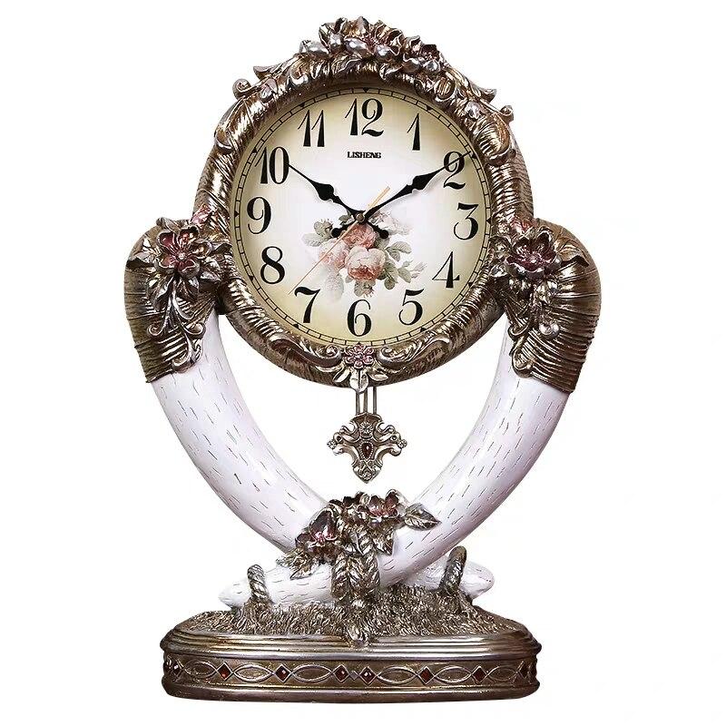 Horloge de luxe européenne siège horloge grand salon pendule horloge mode créative silencieuse ménage horloge à Quartz Table