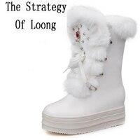 Kobiety Wysokość Zwiększenie Buty Śnieżne Futro Królika Platformy Klinowe Pani krótkie Buty Chunky Heels Kryształowe Pół Buty Plus Rozmiar 40 41