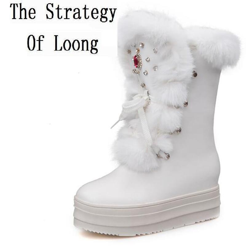 Women Rabbit Fur Snow Boots Platform Height Increasing Wedge Lady Short Boots Chunky Heels Crystal Half Boots Plus Size 40 41 women rabbit fur snow boots platform height increasing wedge lady short boots chunky heels crystal half boots plus size 40 41