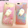 STROLLIFE Cute 3D Squishy Silicon Cat Toy Fidget Stress Reliever Phone Cases For iPhone 7Plus 5s 6s Dynamic Liquid Glitter Cover