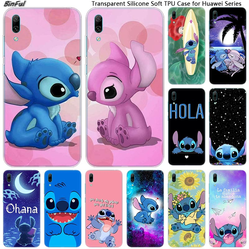 Hot cute cartoon stitch Soft Silicone Phone <font><b>Case</b></font> for <font><b>Huawei</b></font> Mate 10 20 Lite Pro Enjoy 9S Y9 <font><b>Y7</b></font> Y6 Y5 <font><b>2019</b></font> 2018 Pro 2017 Fashion image