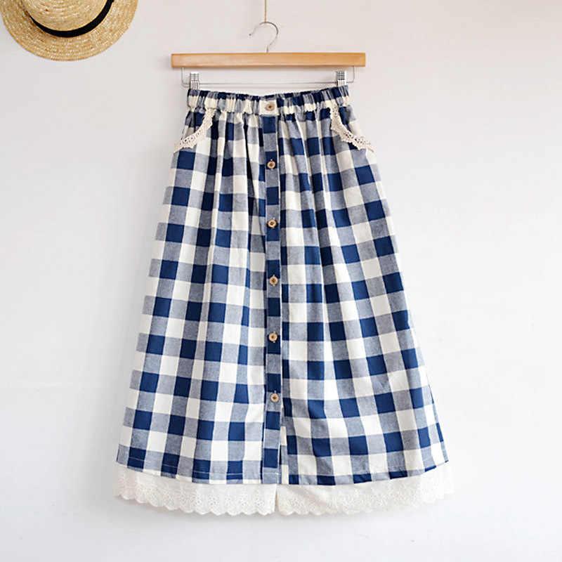 Элегантная кружевная клетчатая повседневная юбка средней длины милая маленькая