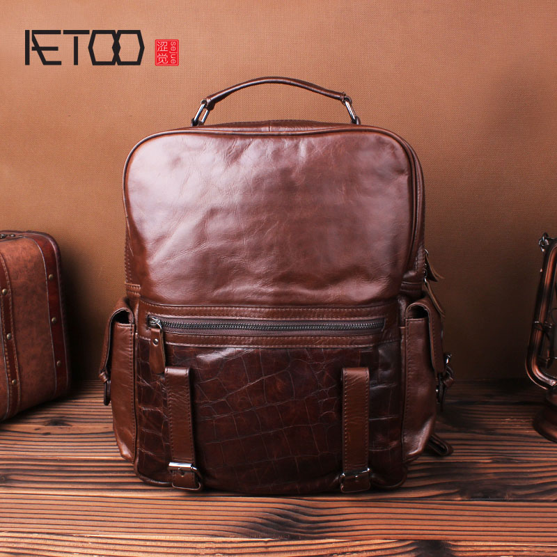 AETOO Fine grain cowhide shoulder bag men and women leather backpack head layer cowhide bag travel bag business computer bag aetoo shoulder bag male leather backpack student bag fashion business computer bag head layer cowhide men and women backpack