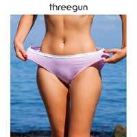 THREEGUN 1 Piece Bikini Briefs Women Cotton Low Rise Panty Stripe Sexy Female Intimates Lingerie Breathable Sexy Underpants