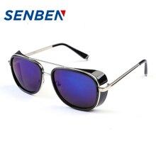 SENBEN 2017Big Frame Men Women Sunglasses Vintage Luxury Brand Stainless Steel UV400 Mirrors Driving Eyewear Oculos Gafas De Sol