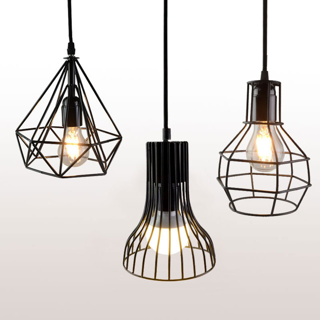 d06631dbe10 Foxanon Retro indoor lighting Vintage pendant light LED lights E27 7 Kinds iron  cage lampshade warehouse