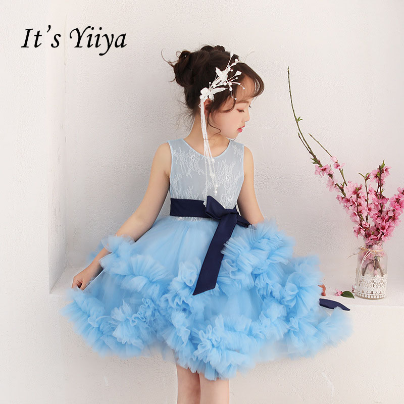 It's yiiya Blue Zipper Bow Tiered Ruffles Lace Tulle Kid   Flower   Child Cloth   Flower     Girl     Dress   For Party Wedding   Girl     Dress   S182