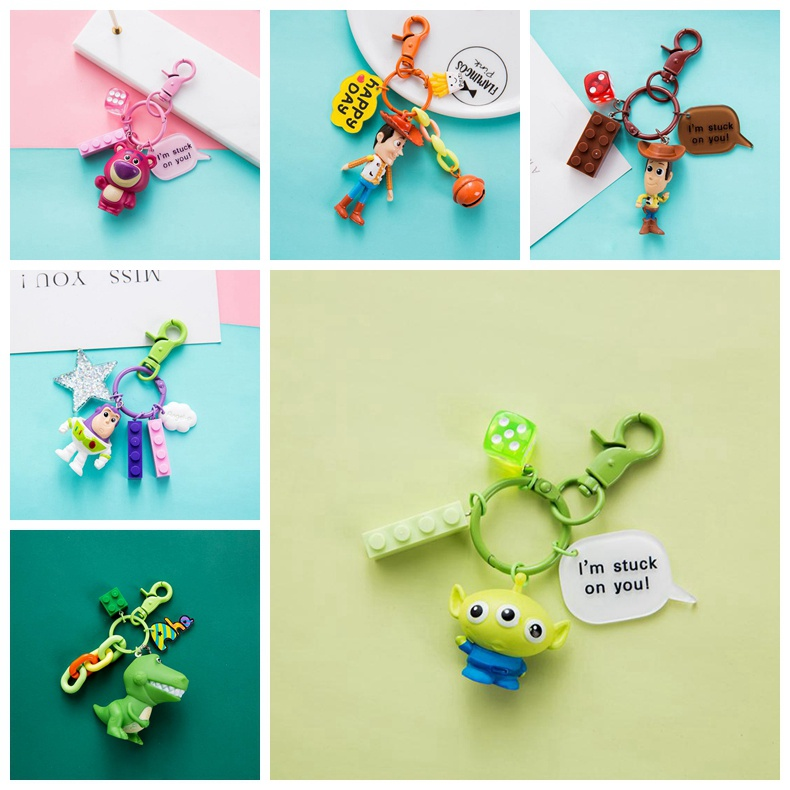 Action Disney Movie Toy Story 4 Keychain Toys WOODY Buzz Lightyear Forky <font><b>Alien</b></font> REX LISTO Bear Figures Model Keychains Kids Gifts image