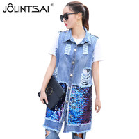Street Style Fashion Women Denim Vest 2017 New Arrivals Sequined Embroidery Long Vest Vintage Hole Sleeveless