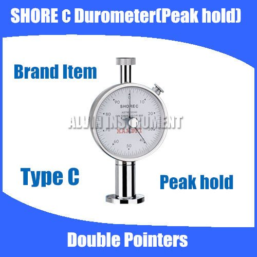 Free shipping Type C Shore Hardness Tester Meter Rubber shore Durometer Double Pointers Peak Hold free shipping digital shore hardness tester meter shore durometer rubber hardness tester standards din53505 astmd2240 jisr7215