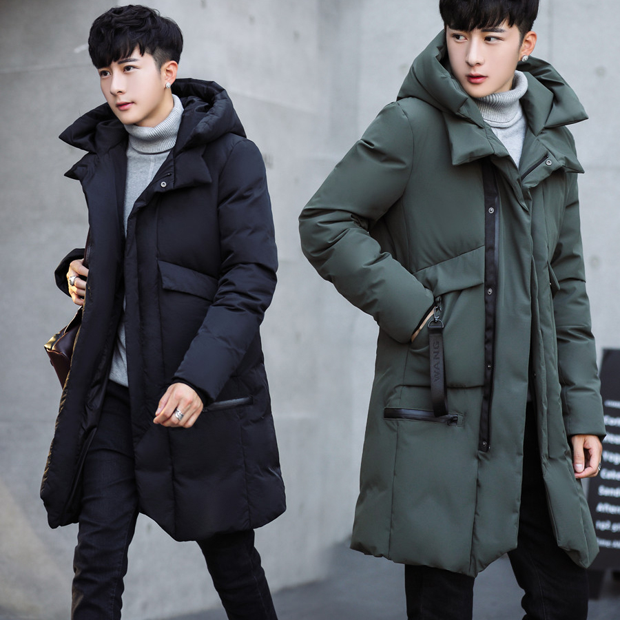 Parka Men 2018 New Winter Men Hooded Jacket Long Jacket Coat  Solid Color Parkas Cotton-Padded Youth Clothing Clothing 1708