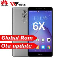 Оригинал Huawe Honor 6X 3g ram 32G rom двойная задняя камера LTE мобильный телефон Восьмиядерный 5,5 дюймов 1920x1080 P сканер отпечатков пальцев