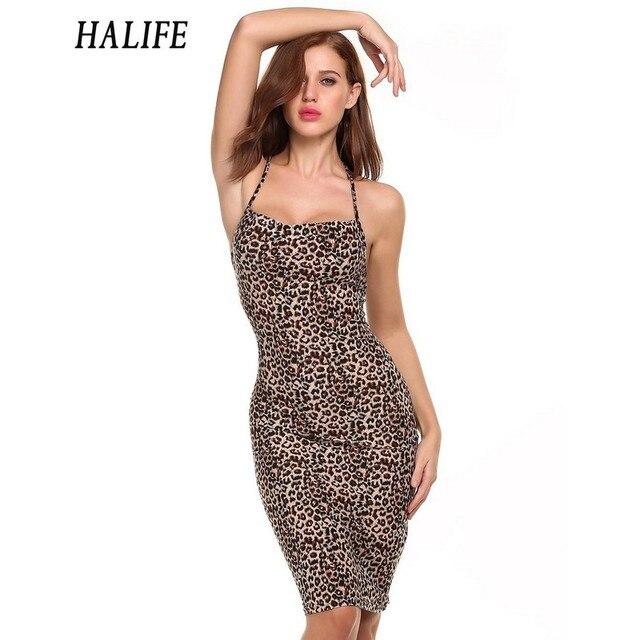 HALIFE Frauen Strap Schulterfrei Midi Leopard Kleid Backless Verband-partei  Sexy Clubwear Selbstporträt Kleid XXL a000fccf5b