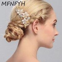 MFNFYH European Handmade Crystal Rhinestone Floral Flower Bridal Hair Comb For Bride Hair Jewelry Headpiece Wedding