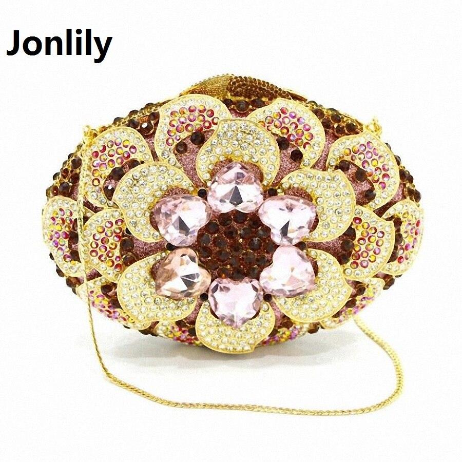 Jonlily Flower Clutch Evening Bag Women's Luxury Crystal Diamond diamante Designer Evening Bag wedding Party Handbags LI-310 luxury crystal clutch handbag women evening bag wedding party purses banquet