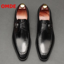 OMDE British Style Genuine Leather Formal Shoes Men Pointed Toe Buckle Dress Shoes Men's Wedding Shoes Fashion Office Shoes mycolen brand fashion 2018 summer black flats pointed toe buckle mens dress shoes genuine leather men office wedding shoes
