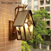 American retro LED outdoor wall lamp villa balcony aisle garden European waterproof wall lamp free shipping