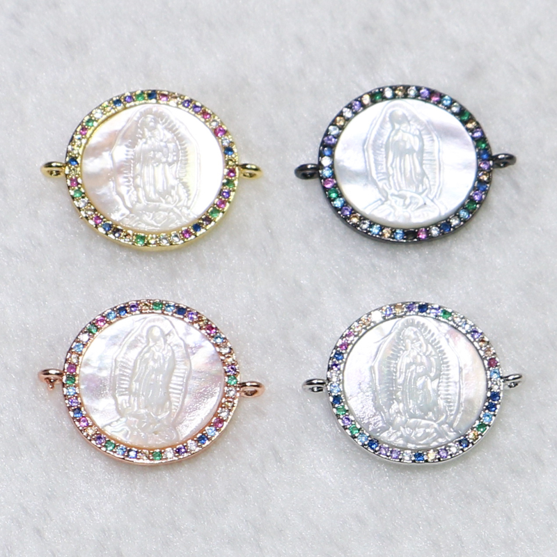 12 Pieces Round charms Pendant Tiny zircon round shell charms connector  Jewelry Accessories for jewelry Making 9072-in Charms from Jewelry & Accessories    1