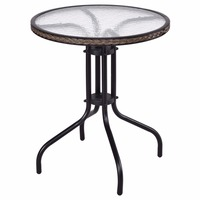 Goplus 24 Patio Furniture Glass Top Patio Round Table Steel Frame Kitchen Dining Table Modern Durable