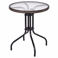 "Goplus 24"" Patio Furniture Glass Top Patio Round Table Steel Frame Kitchen Dining Table Modern Durable Rattan Table HW56171(China)"