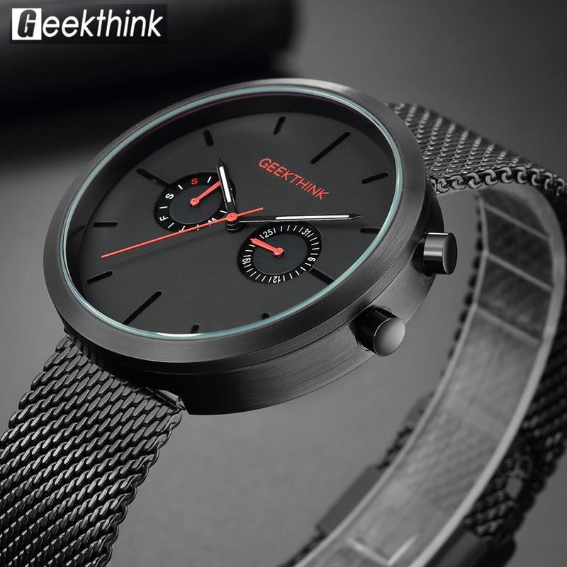 GEEKTHINK 2018 New Luxury Watch Fashion Mesh Stainless Steel Watch for Man Quartz Analog Wrist Watch Orologio Uomo Hot Sales