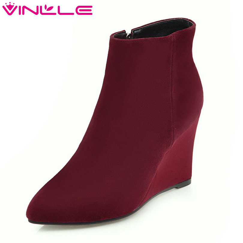 VINLLE 2018 Women Winter Boot Ankle Boots Wedge High Heel Scrub Pointed Toe Zipper Ladies Motorcycle Shoes Size 34-43 vinlle 2018 women boot ankle boots square high heel scrub pu leather pointed toe zipper ladies motorcycle shoes size 34 43