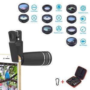 Image 2 - APEXEL 1 Set objectif 10 en 1 Kit dobjectif de caméra de téléphone oeil de poisson large Macro étoile filtre objectifs CPL pour iPhone XS Mate Samsung HTC LG