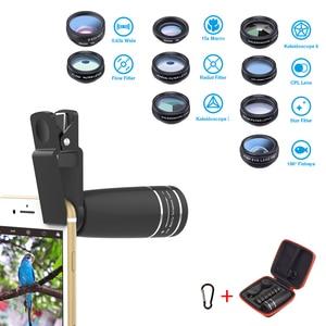 Image 2 - Объектив APEXEL 10 в 1 для камеры телефона, комплект объективов «рыбий глаз», широкоугольный Макро Звездный фильтр, CPL линзы для iPhone XS Mate Samsung HTC LG, 1 комплект