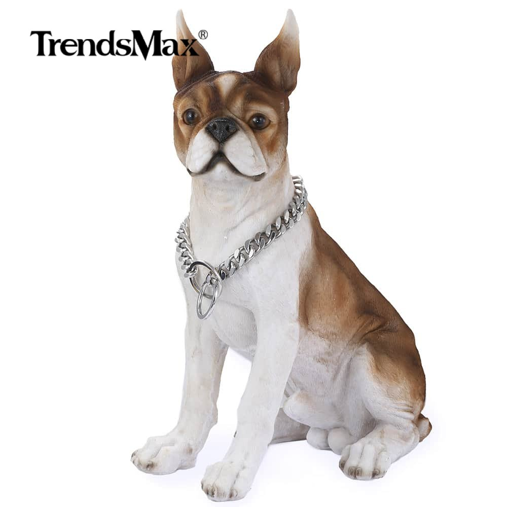 12mm Dogs Training Choke Silver Tone Cut Curb Cuban Link Pet Necklaces 316L Stainless Steel Dog Chain Collar 24inch DC02