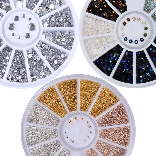 1 Box 3D Nail Art Rhinestones Glitters Colorful Shining Acrylic Rhinestones for Nails DIY Manicure Nail Art Decoration In Wheel