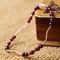 Moda Granate Natural Dorado Original, DIY Accesorios de la Joyería del Regalo del Día de San Valentín Al Por Mayor de Calidad Superior Pulsera Budista