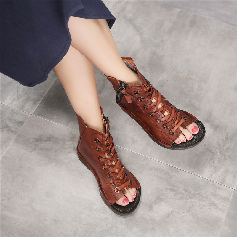 Tyawkiho Genuine Leather Women Boots Sandals Summer Shoes 2018 Fashion Lace Up Fish Mouth Sandals Soft