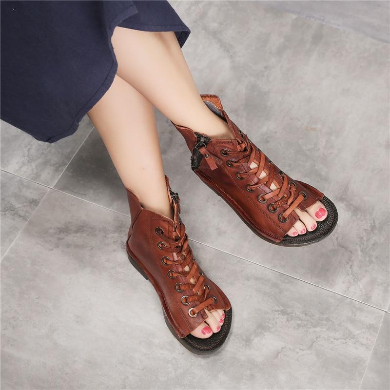 Tyawkiho 정품 가죽 여성 부츠 샌들 여름 신발 2018 패션 레이스 물고기 입 샌들 부드러운 가죽 마틴 부츠 로마-에서앵클 부츠부터 신발 의  그룹 1